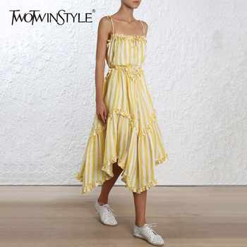 TWOTWINSTYLE Striped Dress Lace Up Backless Ruffles Patchwork Irregular Draped Long Spaghetti Strap Dresses 2019 Summer Sweet - DISCOUNT ITEM  39% OFF All Category