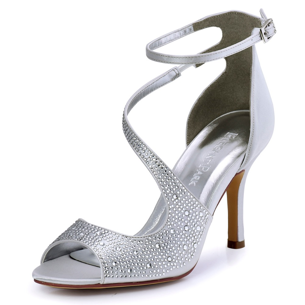 HP1505 Silver Summer Women sandals High Heel prom party shoes Satin Wedding bridal shoes bride lady pumps