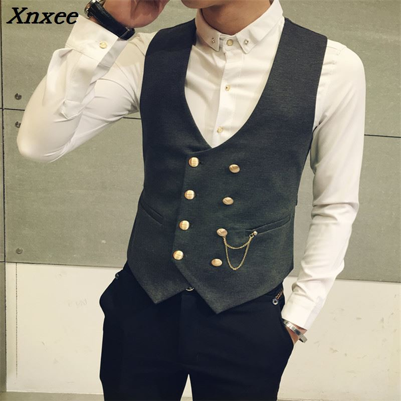 Mens Double Breasted Vest Men Dress Suit Formal Black Gtrey Gilet Colete Masculino Plus-size M - 5XL