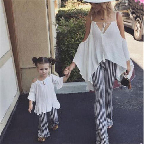 2019 Summer New Women Girl  Mother Daughter Matching Off Shoulder Top+ Striped Pants Trousers Family Matching Outfits