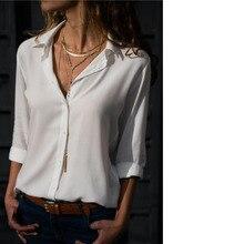 Women Long Sleeve Deep V Button Chiffon Ladies Office Shirts Turndown Collar Loose Casual Plus Size Tops Camisa Feminina Ez* covered button turndown collar shirt