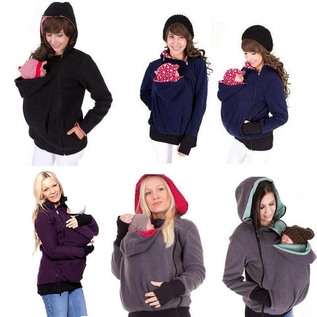 24aa10e5c07c New Thickened Pregnancy Wool Baby Wearing Maternity Hoodies Baby Carrier  Jacket Kangaroo Outerwear Hoodies  Sweatshirts Coat