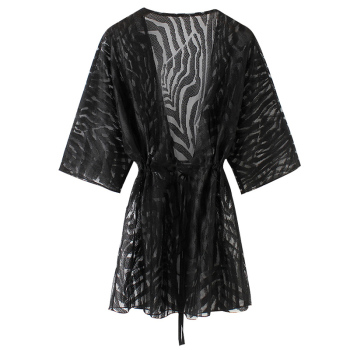 Romacci Semi Sheer tunics for beach New Women Kimono Cardigan Solid Open Front Boho Loose Outerwear Beach Bikini Cover Up Black 1