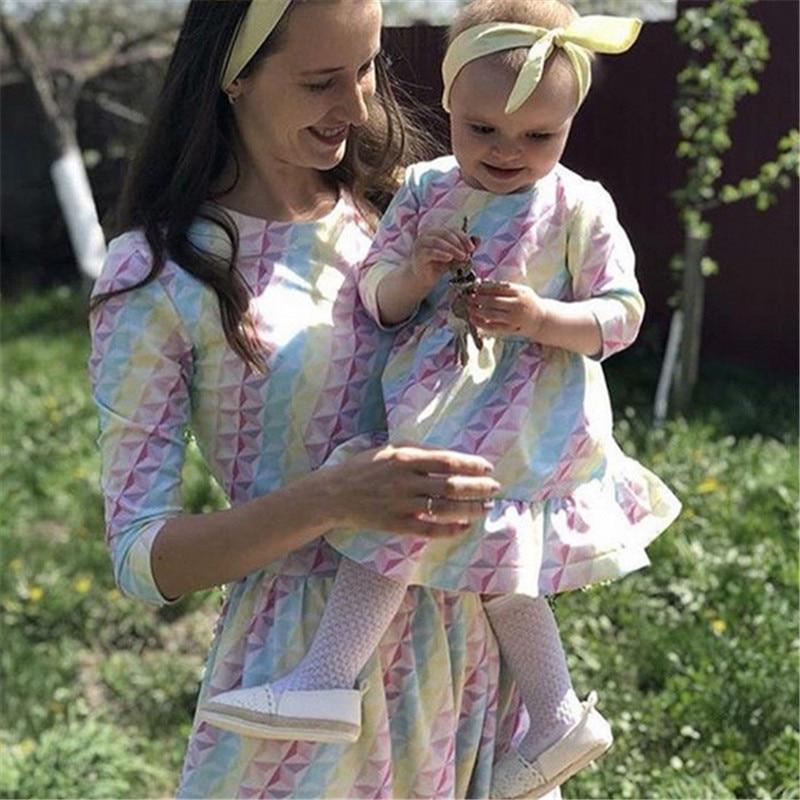 2019 Summer Mother Kids Mom daughter Dress Colorful Stripe D