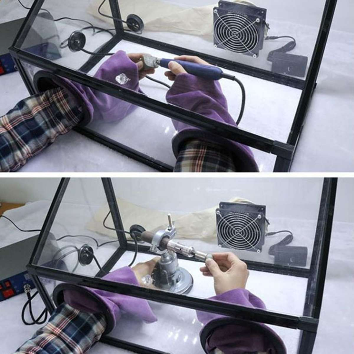 Entièrement Clos De Protection Cover Shield Électrique Meulage Polissage Acrylique Poussière Couvercle de la Boîte avec Ligth + Ventilateur Accessoires D'outils Électriques