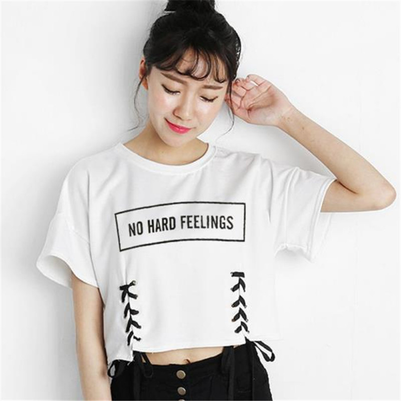 2e88f5653fa MERRY PRETTY new summer crop tops women t shirt letter print short sleeve  lace up cotton loose sexy white t-shirt dance tee tops