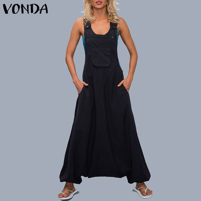 VONDA   Jumpsuits   Womens Rompers 2019 Summer Casual Cotton Harem Pants Trousers Female Sexy Sleevelss Long Playsuits Plus Size