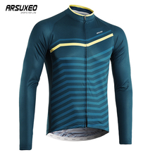 купить ARSUXEO Cycling Jersey Long Sleeve MTB Clothing Men Breathable Downhill Jersey Quick Dry Printing Bicycle Jersey дешево