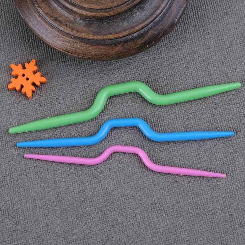 3 Cong Móc Nhựa Kim Đan Khăn Áo Len Xoắn Dệt Công Cụ Phụ Kiện May Vá