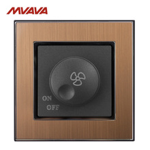 MVAVA Ceiling Fan Dimmer Switch 110-250V Speed Control Wall Turn ON/OFF Rotate Gold Satin Metal UK/EU Standard Free Shipping