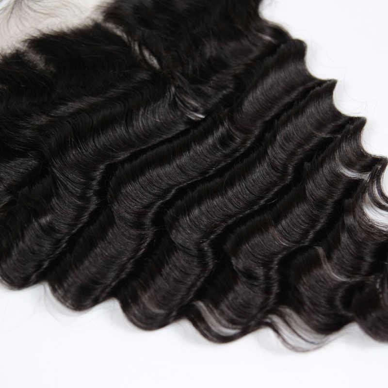 Hermosa reina 10A pelo humano peruano 13x4 encaje transparente Frontal onda suelta Natural 130 densidad cabello virgen con el pelo del bebé