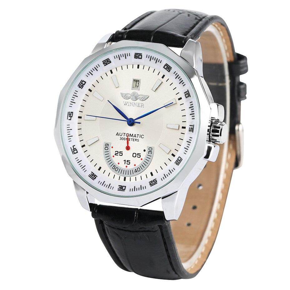 Cadran de couleur noir/blanc automatique auto-vent montres mécaniques pour hommes décontracté bracelet en cuir Date affichage montres mâle bijoux