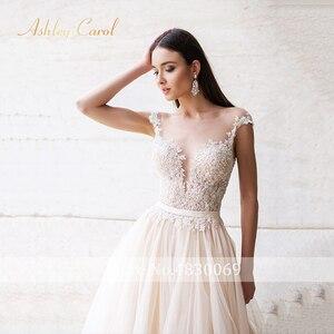 Image 3 - Ashley Carol Backless Appliques A Line Wedding Dress 2020 Beaded V neckline Sleeveless Chapel Train Bridal Gown Vestido de Novia