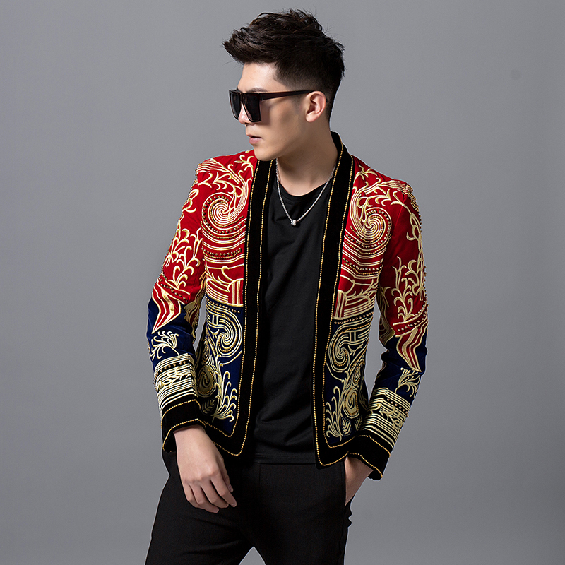 Heavy Wormnanship Embroider And Beads Stage Costumes For Singer DJ Party Club Outfit Luxury Baroque Color Block Blazer Men