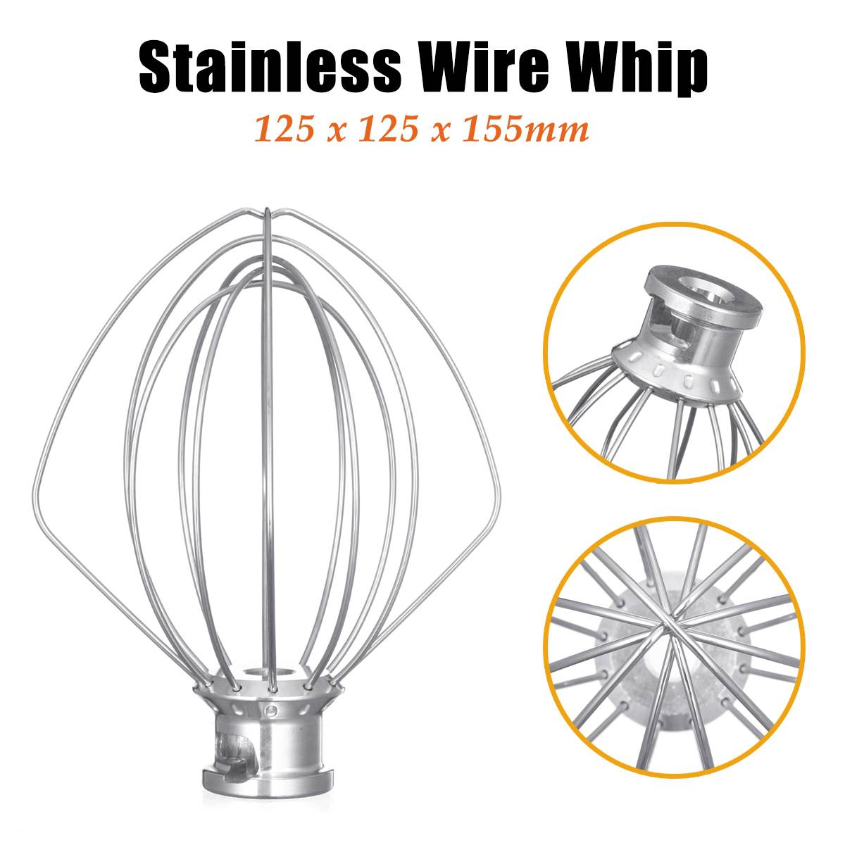 304 Stainless Steel Wire Whip Mixer Attachment For KitchenAid K45WW 9704329 Egg Cream Stirrer Flour Cake Balloon Whisk