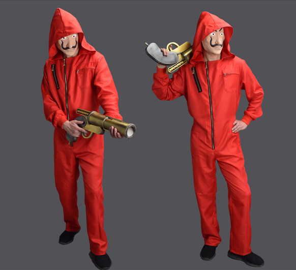 Salvador Dali La Casa De Papel Costume The House Of Paper Cosplay Halloween Money Heist Jumpsuits  Fancy Dress Mask