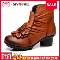 MVVJKE Vintage Women Genuine Leather Boots Retro Cowhide Leather Women's Boots Mother Folk Style Winter Shoes Sapato Feminino S
