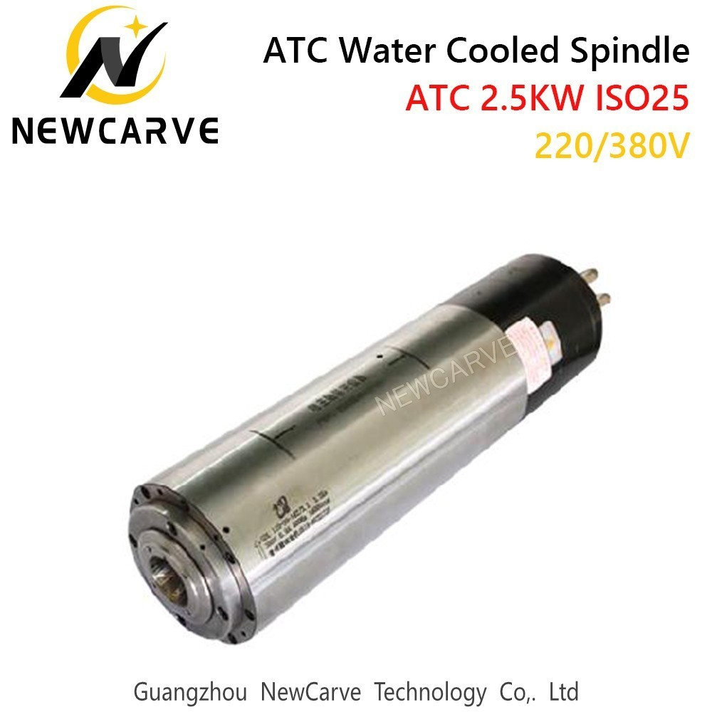 Купить с кэшбэком 2.5KW Water Cooled ATC Spindle Motor 220V ISO25 Automatic Tool Change Spindle For Mental Cutting NEWCARVE