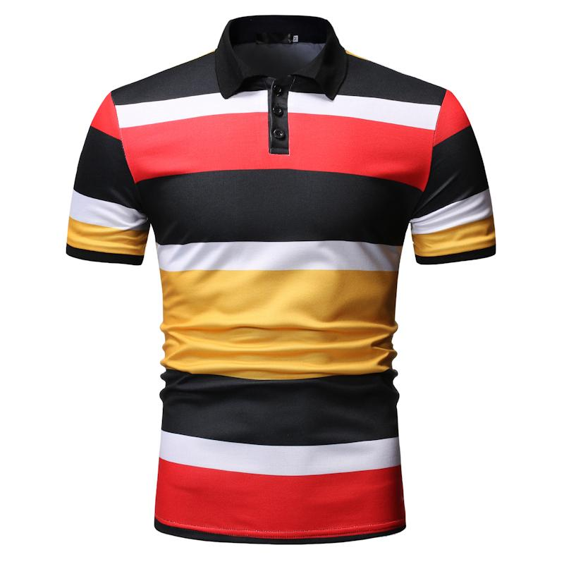 Stripes Men   Polo   Shirt Short sleeve   Polo   Collar Summer Tops Camisa masculina Red Blue Business Social Shirt for Men's Clothing