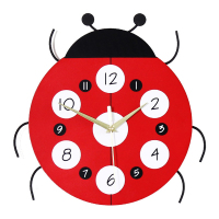 Decoration Chambre Enfant Cartoon Ladybird Kids Wall Clock Creative Mute Watch Children's Room Home Decor Clock MDF Muur Klok