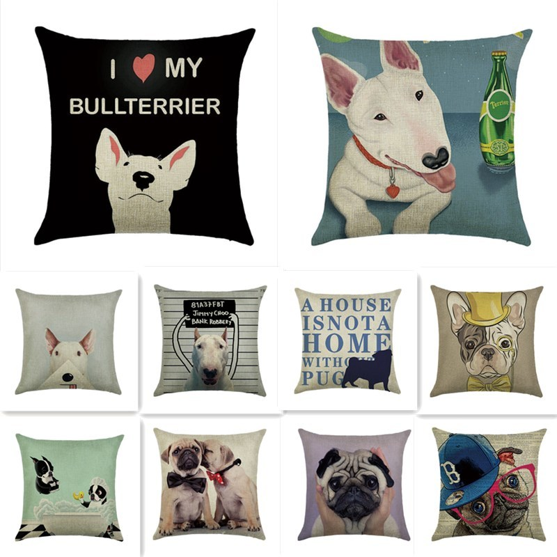 Bulldogs on the Beach, Vintage Image adapted  - Fabric Cushion Upholstery Panel