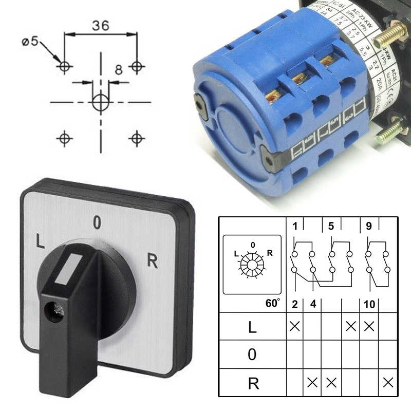 L-0-R 20A/32A High Quality Cam Switch Rotary Switch Changeover Control Switch Panel Mounted For Electrician Using Tools