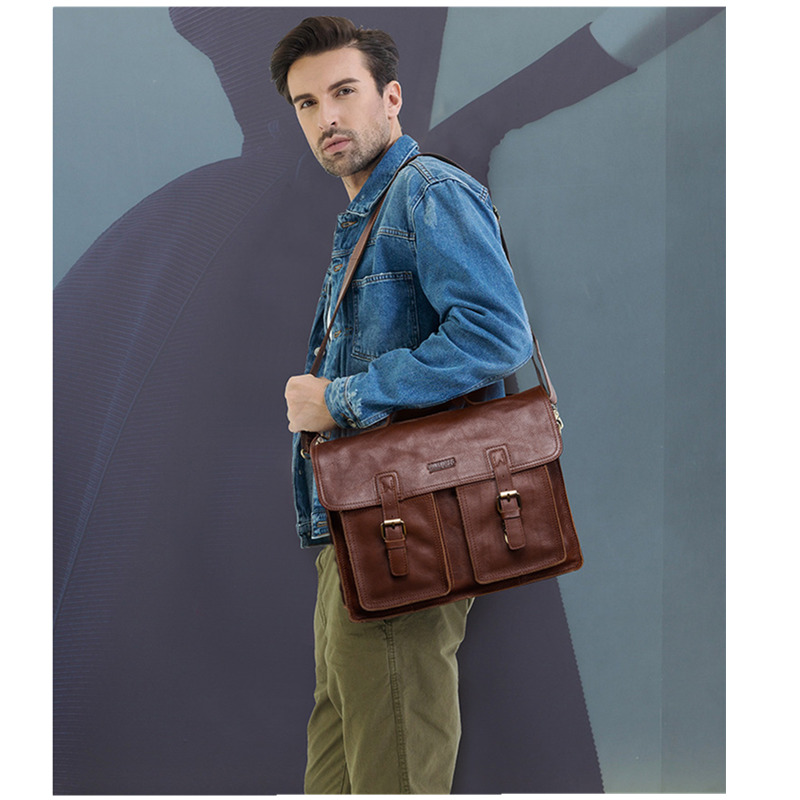 Top Level Men Leather Briefcase Business Men's Office Bags For Man Shoulder Handbag Male Messenger Computer Bag Luxury Handbags