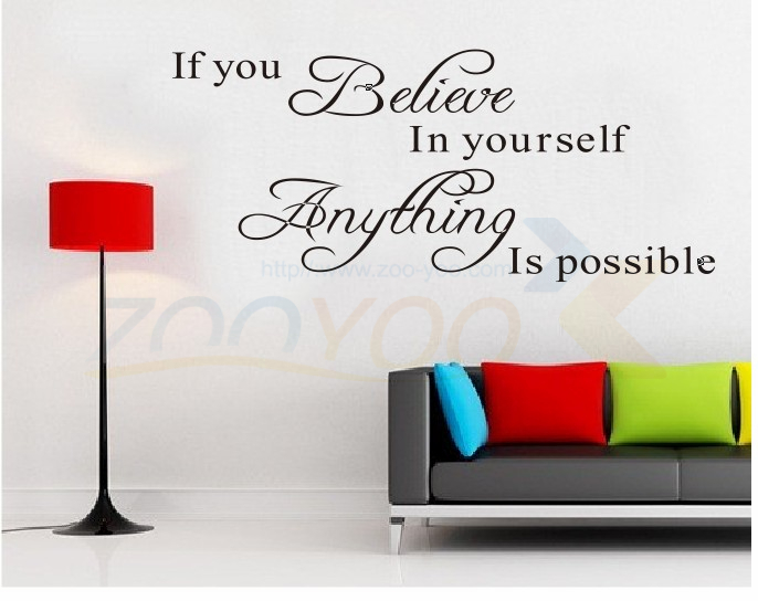 believe in yourself waterproof english living room decor wall stickers adesivo de parede wall decals zyva8037