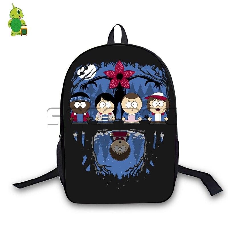 Horrible Stranger Park Backpack Stranger Things South Park Crossoveres School Bags Boy Girls Laptop Backpack Travel Bags