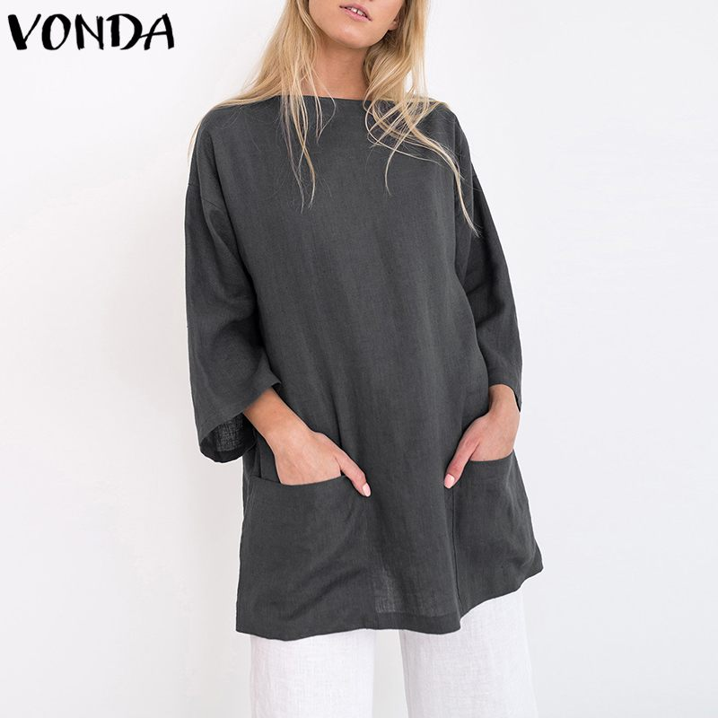 VONDA Plus Size Women   Blouses     Shirt   2019 Autumn Elegant 3/4 Sleeve Pockets Solid   Shirts   Female Casual Loose Long Tops Blusas