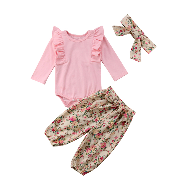 Emmababy 3 pieces Ruffled Long sleeve Bodysuit Floral Pant