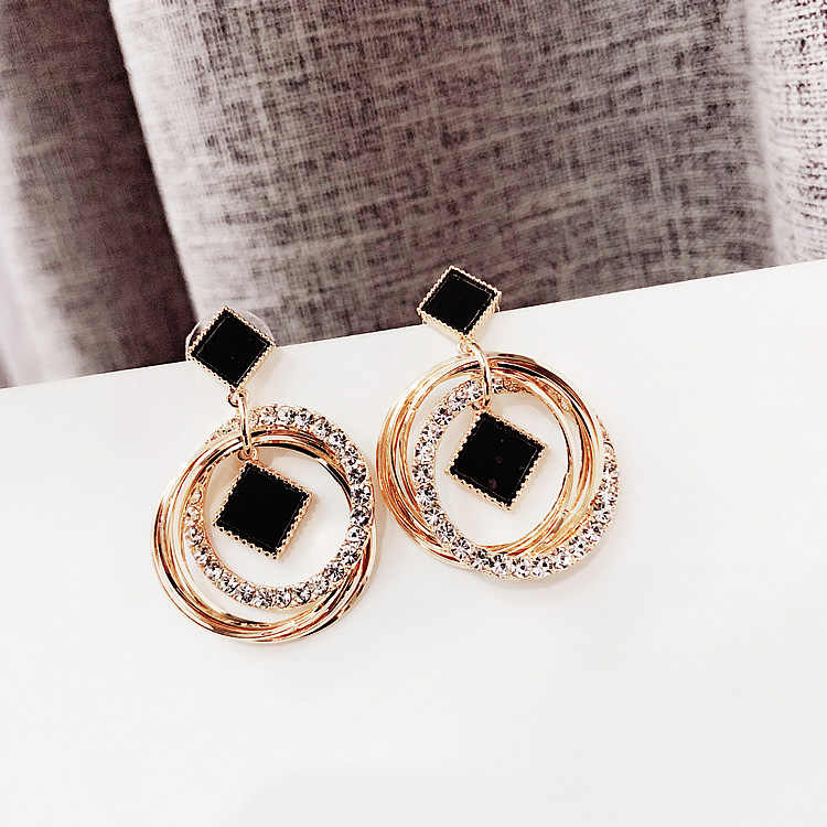 FYUAN Fashion Multilayer Circles Geometric Drop Earrings Black Round Rhombus Gold Color Rhinestone Earring lady Party Jewelry