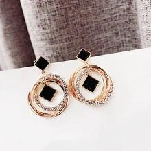 Fyuan модные Многослойные круги геометрические серьги капли