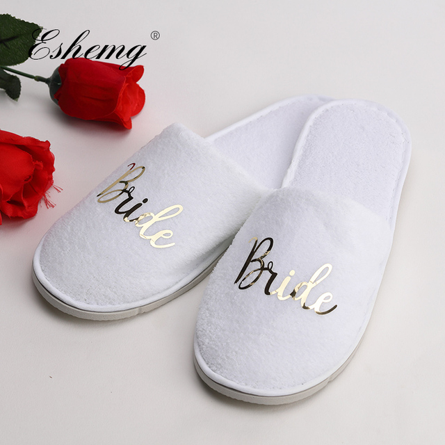 83a0a8002 Eshemg Personalized Wedding Slippers Bride Bridesmaid Slippers Maid Of  Honor Groom Slippers Bachelorette Party Warm Slippers