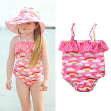 One Piece Baby Girls Tankini Bikini Rainbow Print Swimwear Bandage Swimsuit Strap Ruffles Bathing Suit Toddler Beachwear 1-5T цена