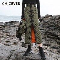 CHICEVER Winter Skirts For Women High Waist Zipper Hem Split Army Green Bodycon Skirt Female Fashion Streetwear Tide 2018