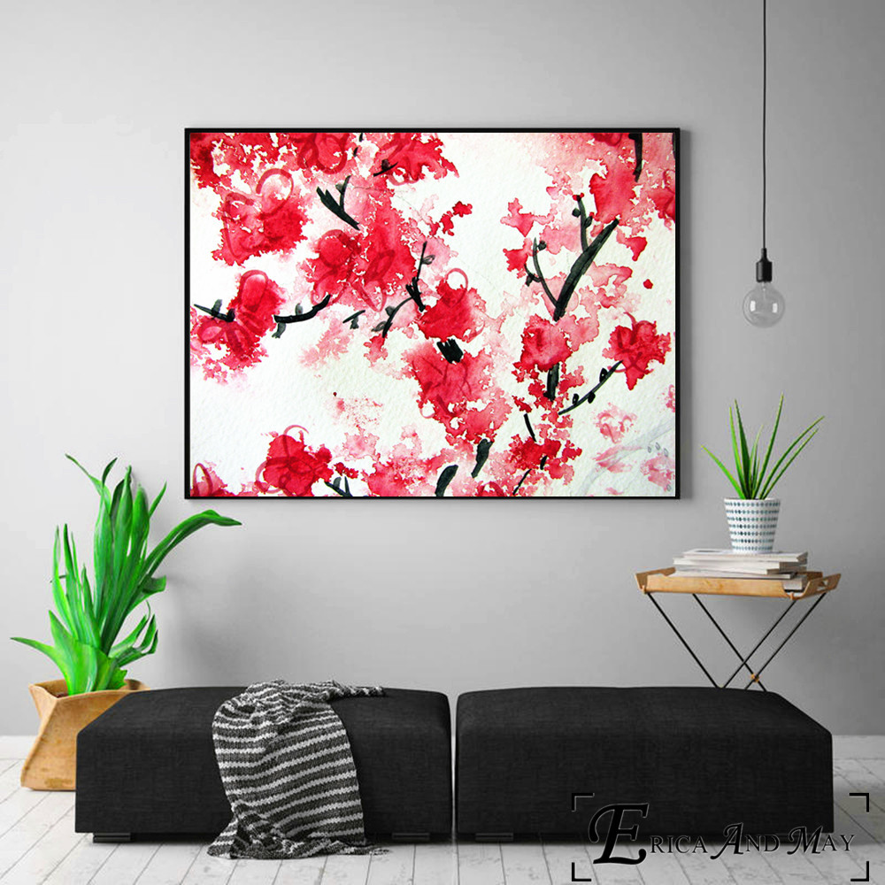 Sakura With Wind Art Work Canvas Painting Posters And Prints For Living Room No Framed Wall Art Picture Home Decor On Sale in Painting Calligraphy from Home Garden