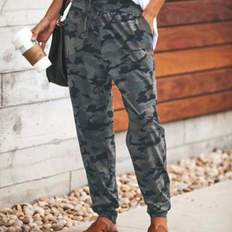Women Camouflage Printed Trousers 2019 Spring High Quality Casual Pants Sexy Slim Drawstring Pants Ladies Sweatpants