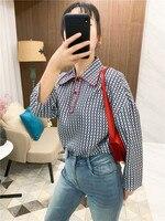 2019 новый для женщин одежда громоздкие рубашка в стиле ретро дизайн sense ниша свободные кукла воротник печатных шелк