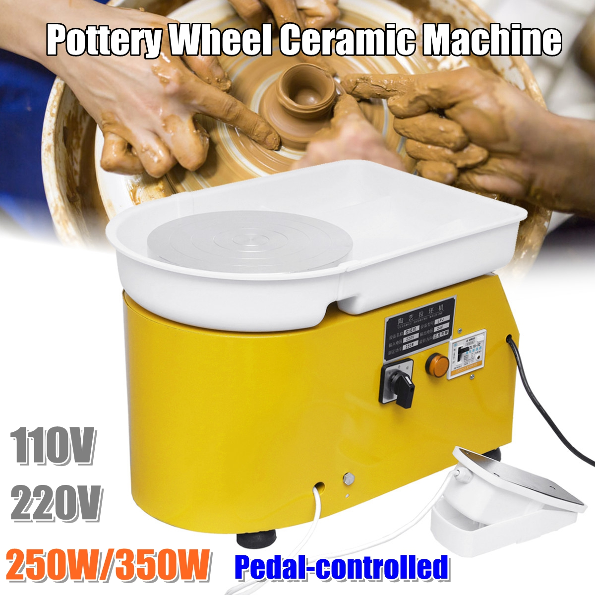 Turntable 250W/350W Electric Tours Wheel Pottery Machine Ceramic Clay Potter Art For Ceramic Work Ceramics 110V/220V