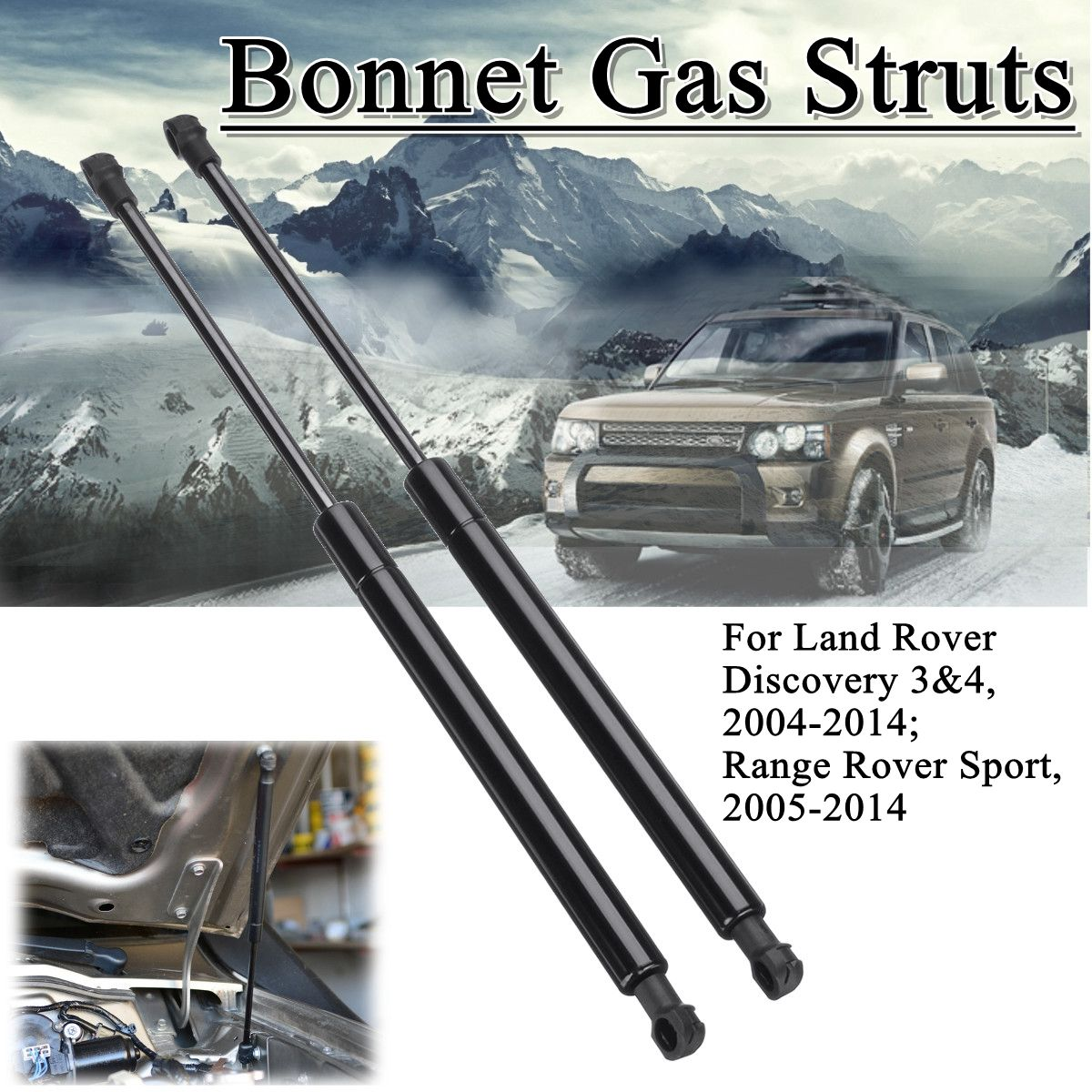 2pcs Front Bonnet Hood Support Gas Struts For Land Rover Discovery Range Rover Sport 2004-2014 LR009106