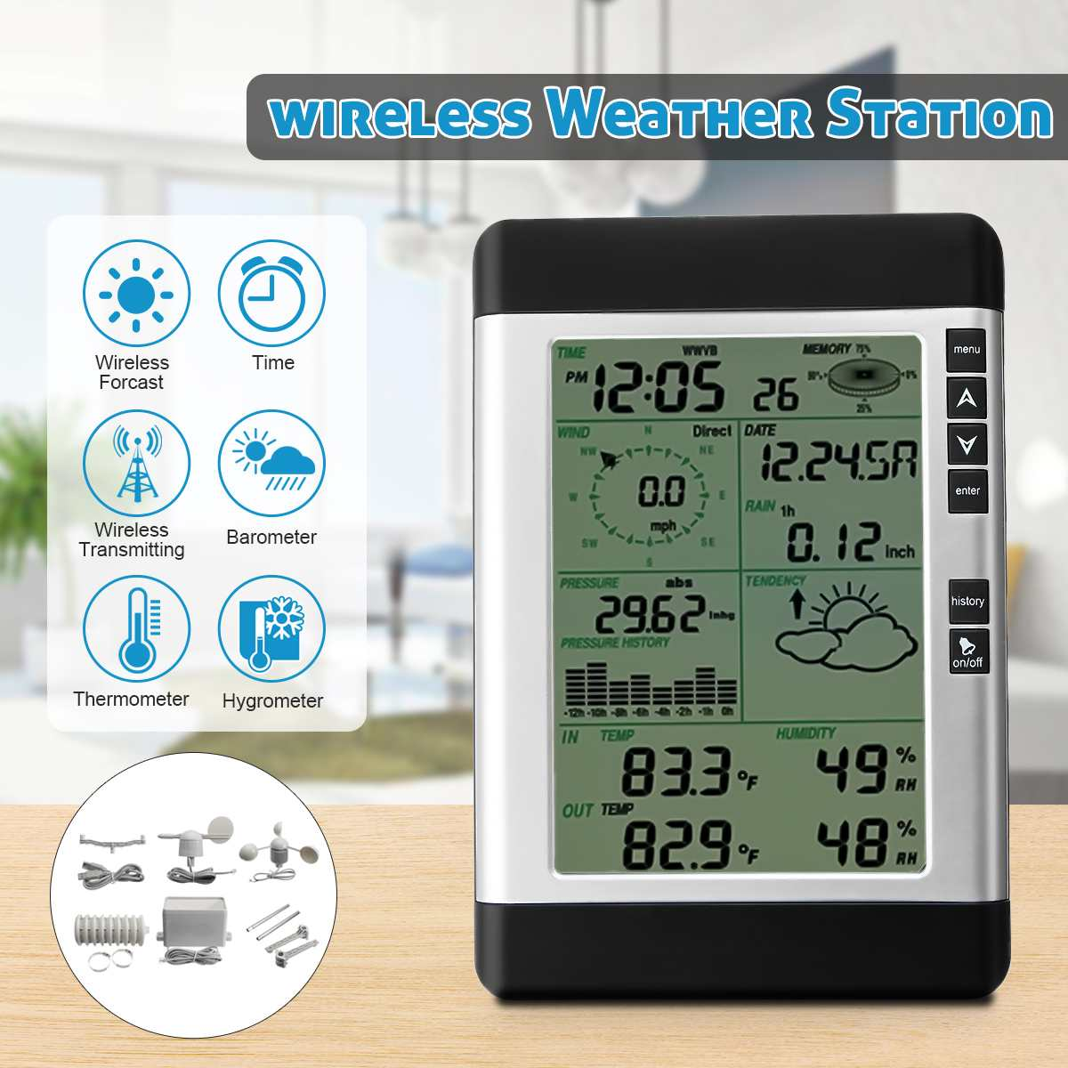 Wireless USB Weather Station& Household LCD Thermometer Hygrometer Forecast Sensor Barometric Pressure Weather Forecast Clock hongyang t18040 1 5 lcd weather forecast thermometer hygrometer blue black