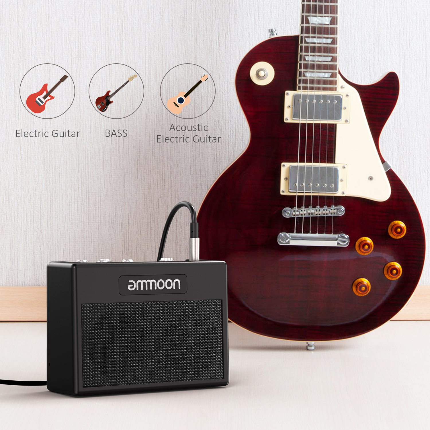 ammoon POCKAMP Guitar Amplifier Built in Multi effects 80 Drum Rhythms Support Tuner Tap Tempo Function