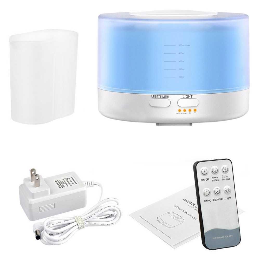 Humidificateur ultrasonique à télécommande d'arome d'air de 500Ml avec 7 couleurs Led allume l'arome électrique d'huile essentielle d'aromathérapie Diffuse