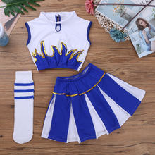 Kids Classic Cheerleader Costume Set Sleeveless Crop Top with Skirt Socks Blue Sparks School Girls Costume Dance Cosplay Uniform(China)