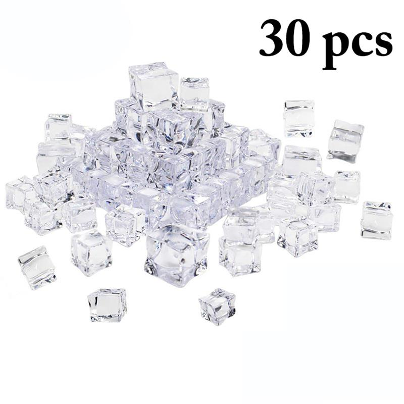30PCS Lifelike Fake Ice Cubes Simulation Transparent Square Plastic Acrylic Ice Cubes Shooting Home Bar Decoration Supplies