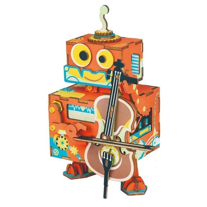 Robotime DIY 3D Petit Robot Interprète AMD53 En Bois Jeu de Puzzle Assemblée Mobile Boîte à Musique Jouet Cadeau pour les Enfants Enfants Adultes