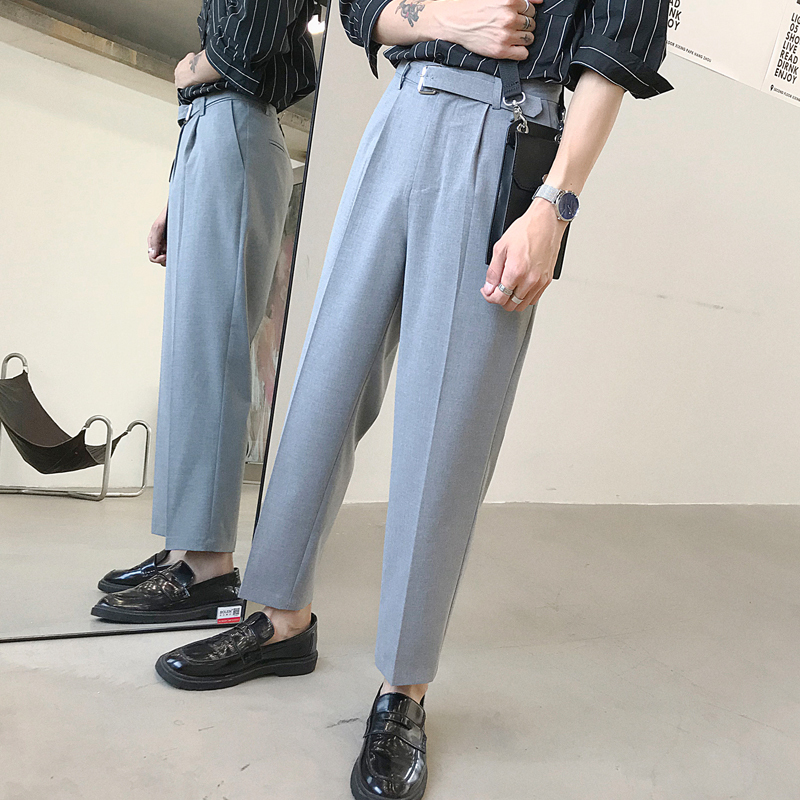 2019 Spring And Summer New Korean Men's Loose Comfortable Fashion Cotton Slim Office Work Plaid Casual Trousers