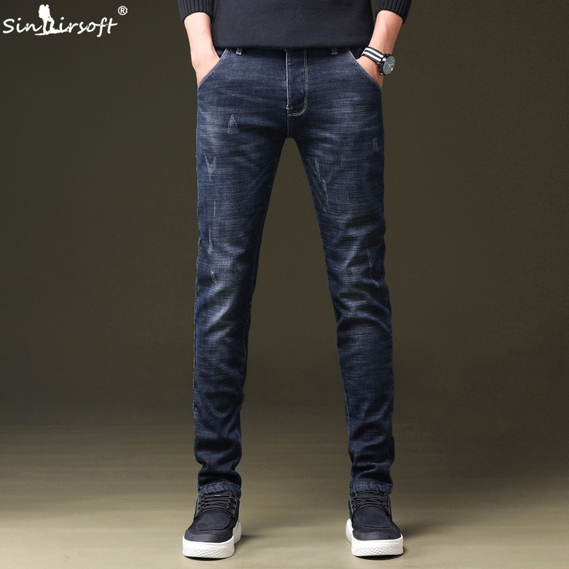 SINAIRSOFT2019 New Denim Men 39 s Jeans Masculina Jeans Casual Men 39 s Slim Retro Jogging Pants Hip Hop Street Slim Trousers in Jeans from Men 39 s Clothing