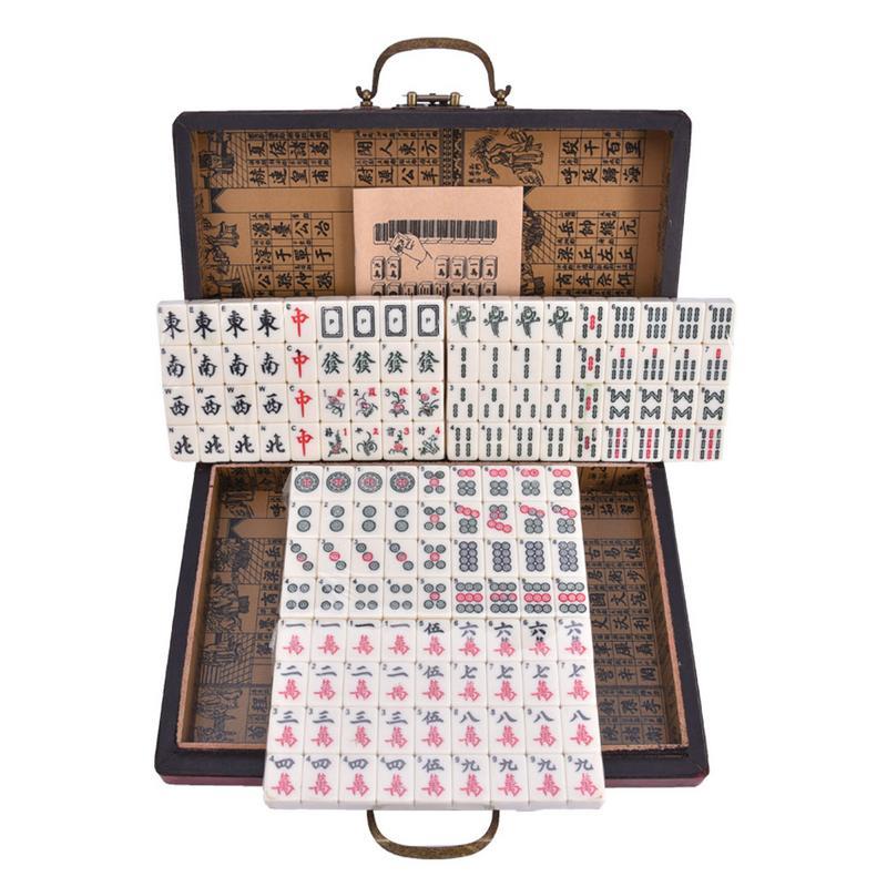 2027-1 Mahjong anglais Set avec boîte en cuir rétro voyage Portable Mahjong jeux de société 40